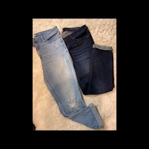 TWO PAIRS Lauren Conrad Cuffed Skinny Jeans
